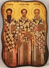 Greek Orthodox Icon of St. Basil, St. John Chrysostom and St. Gregory