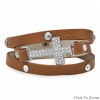 "7"" - 7.5"" Tan Leather Wrap Bracelet with Silver Tone Crystal Cross"