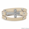 "7"" - 7.5"" Ivory Leather Wrap Bracelet with Silver Tone Crystal Cross"