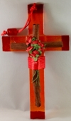 Fusing Glass Cross with Cinnamon and Flowers (available in 4 colors)