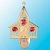 24K Gold Plated Church Night Light with Red Swarovski Crystals
