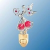 Chrome Plated Angel with Heart Night Light with Swarovski Crystals (available in 6 Colors)