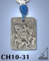 SILVER PLATED HANGING CHARM WITH ICON. ST. DEMETRIOS