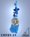 SILVER PLATED HANGING CHARM WITH ICON, CREST AND GLASS CROSS. SAINT CHRISTOPHER