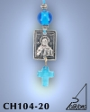 SILVER PLATED HANGING CHARM WITH ICON. SMALL SIZE WITH GLASS CROSS. CHRIST