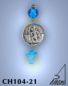 SILVER PLATED HANGING CHARM WITH ICON. SMALL SIZE WITH GLASS CROSS. SAINT CHRISTOPHER
