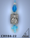 SILVER PLATED HANGING CHARM WITH ICON. SMALL SIZE WITH GLASS CROSS. PANAGIA
