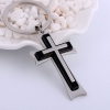 Silver Plated and Black Cross Key Chain