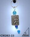 KEY HOLDER WITH SILVER PLATED ICON AND GLASS BEADS. MEDIUM SIZE. SAINT CHRISTOPHER