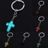 Silver Plated Natural Stone Cross Key Chain  (available in 6 different stones)