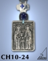 SILVER PLATED GOOD LUCK HANGING CHARM WITH ICON. ST. RAFAEL - NICKOLAS - IRENE