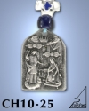 SILVER PLATED GOOD LUCK HANGING CHARM WITH ICON. THE ANNUNCIATION