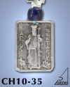 SILVER PLATED GOOD LUCK HANGING CHARM WITH ICON. ST. NEKTARIOS