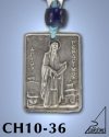 SILVER PLATED GOOD LUCK HANGING CHARM WITH ICON. ST. GERASIMOS