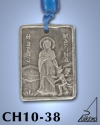 SILVER PLATED GOOD LUCK HANGING CHARM WITH ICON. ST. MARINA