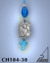 SILVER PLATED GOOD LUCK HANGING CHARM WITH ICON. SMALL SIZE WITH GLASS CROSS. ARCHANGEL MICHAEL