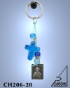 KEY HOLDER WITH SILVER PLATED ICON AND GLASS BEADS. SMALL SIZE. CHRIST