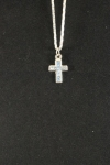 Silver Plated Cross Necklace with Colored Stones
