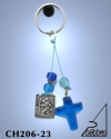 KEY HOLDER WITH SILVER PLATED ICON AND GLASS BEADS. SMALL SIZE. SAINT CHRISTOPHER