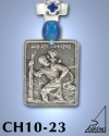 SILVER PLATED HANGING CHARM WITH ICON. ST. CHRISTOPHER