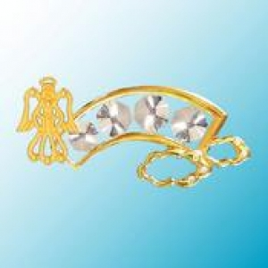 24K Gold Plated Rainbow with Angel Night Light with Clear Swarovski Crystals